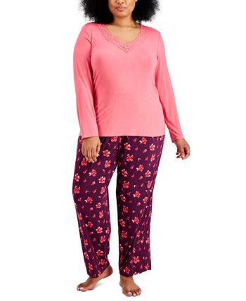 Plus Size Lace-Trim Pajama Set, Created for Macy's Charter Club