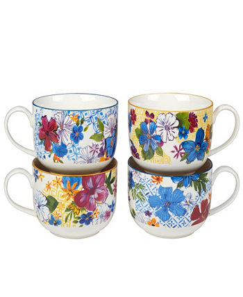 Flower Power Set of 4 Jumbo Cup Certified International