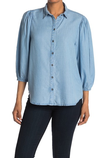 Isobel Tencel Puff Sleeve Button Blouse  BeachLunchLounge