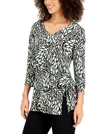 Printed Ruched-Side Top, Created for Macy's J&M Collection