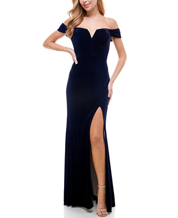 Juniors' Off-The-Shoulder Velvet Gown City Studios