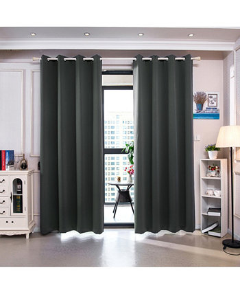 "84"" Delphi Premium Solid Insulated Thermal Blackout Grommet Window Panels, Smoke Grey Elegant Home Fashions"