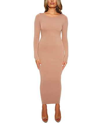 Scoop-Back Bodycon Midi Dress Naked Wardrobe