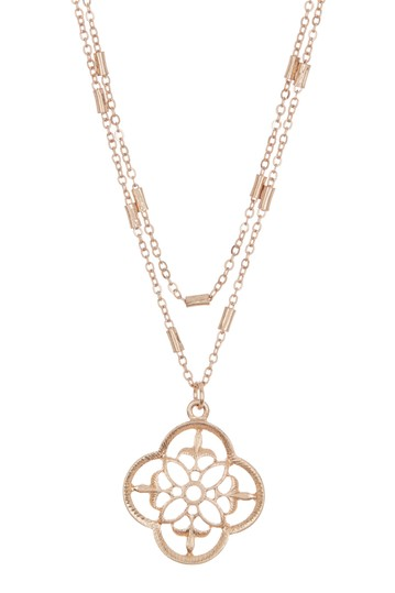 Gold-Tone Filigree Crest Double Layer Necklace AREA STARS