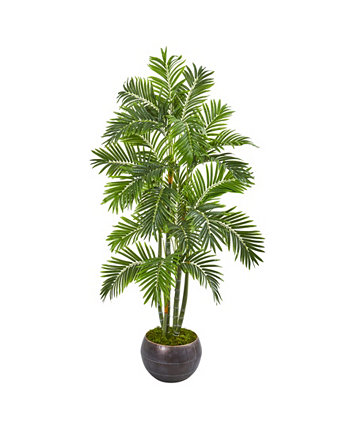 """68"""" Areca Palm Artificial Tree in Metal Bowl NEARLY NATURAL"""