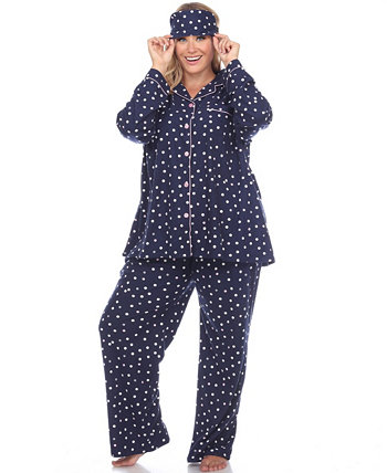 Women's Plus Size Pajama Set, 3 Piece White Mark