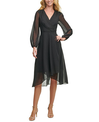 Sheer-Sleeve Surplice Dress Tommy Hilfiger