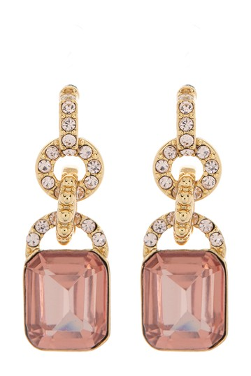 Gold-Tone Crystal Pave & Stone Double Drop Earrings Ralph Lauren