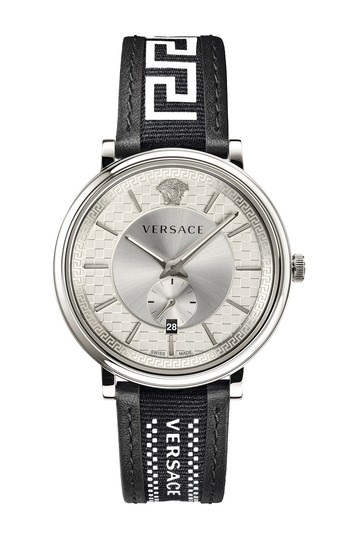 Men's V-Circle Leather Strap Watch, 42mm Versace