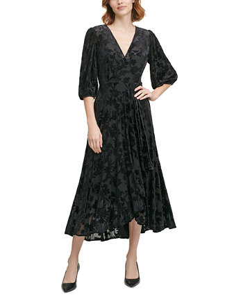 Burnout Velvet Faux-Wrap Dress Calvin Klein