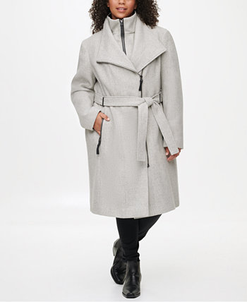Plus Size Faux-Leather-Trim Belted Coat, Created for Macy's Calvin Klein