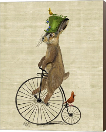 March Hare On Penny Farthing By Fab Funky Canvas Art Metaverse