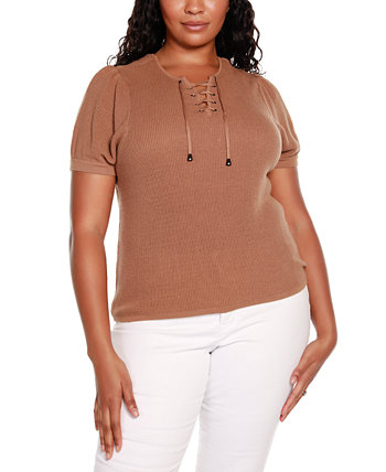 Black Label Plus Size Short Puff Sleeve Sweater with Lace Up Detail at Front Belldini