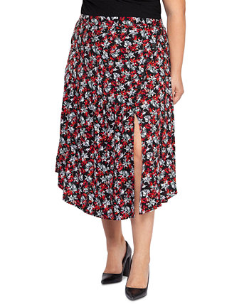 Plus Size Printed Midi Skirt Black Tape