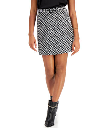 Houndstooth Belted Skirt, Created for Macy's Bar III