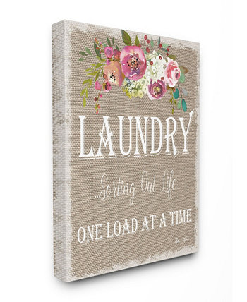 "Floral Linen Laundry Sorting Life Canvas Wall Art 12.5"" L x 0.5"" W x 18.5"" H Stupell Industries"