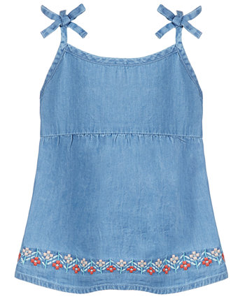 Toddler Girls Floral Embroidered  Denim Top, Created for Macy's First Impressions