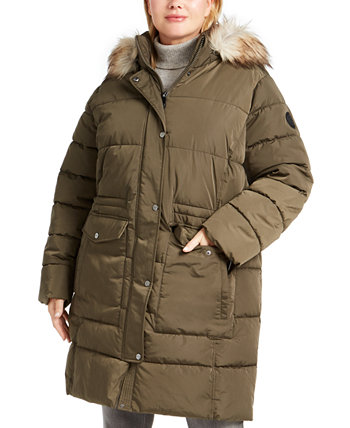 Plus Size Faux-Fur Trim Hooded Anorak Puffer Coat DKNY
