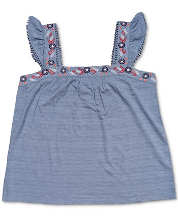 Embroidered Flutter-Strap Tank Top, Created for Macy's Style & Co