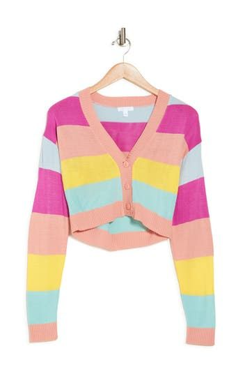 Colorblock Stripe Button Front Cardigan Abound