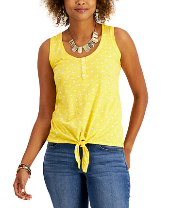 Petite Printed Henley Tank Top, Created for Macy's Style & Co