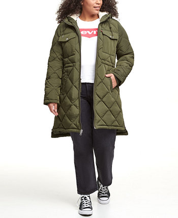 Trendy Plus Size Diamond-Quilted Hooded Long Parka Jacket Levi's®