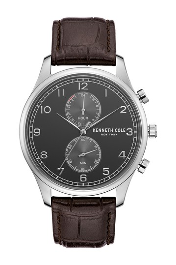 Men's Dress Sport Leather Strap Watch, 42mm Kenneth Cole New York