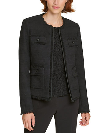Tweed Fringe-Trim Jacket Karl Lagerfeld Paris