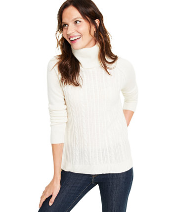 Cashmere Cable-Knit Turtleneck Sweater, Created for Macy's Charter Club