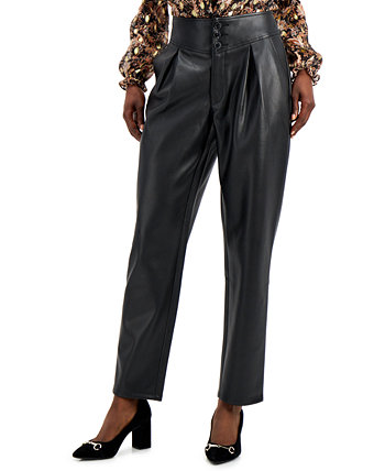 INC Faux-Leather Pleat-Front Pants, Created for Macy's INC International Concepts