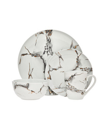 Rayo Marble 16 Piece Dinnerware Set, Service for 4 Godinger