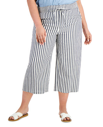 Plus Size Printed Wide-Leg Cropped Pants, Created for Macy's Style & Co