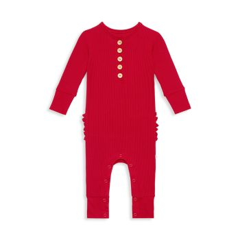Baby's Ribbed Footless Long-Sleeve Henley Coverall Posh Peanut