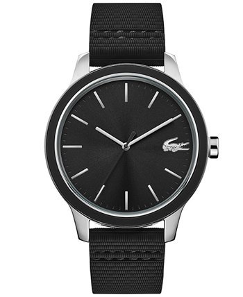 Men's Black Silicone Strap Watch 44mm Lacoste