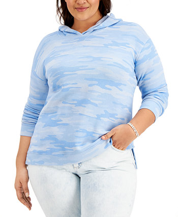 Plus Size Camouflage Hoodie, Created for Macy's Style & Co