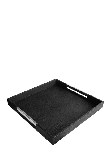 Black Tray with Silver Handles Jay Import