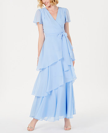 Tiered Chiffon Maxi Gown Tahari by ASL