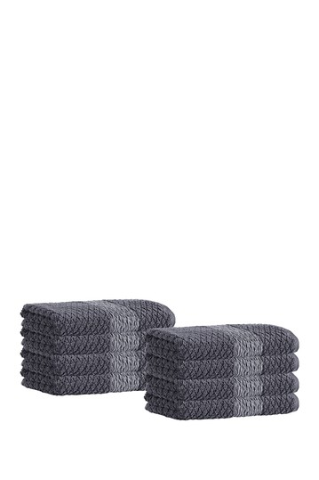 Anton Turkish Cotton Hand Towel - Anthracite - Set of 8 Enchante Home