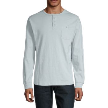 Crewneck Cotton Henley Unsimply Stitched