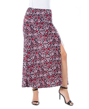 Women's Plus Size Floral Print Ankle Length Skirt 24seven Comfort Apparel