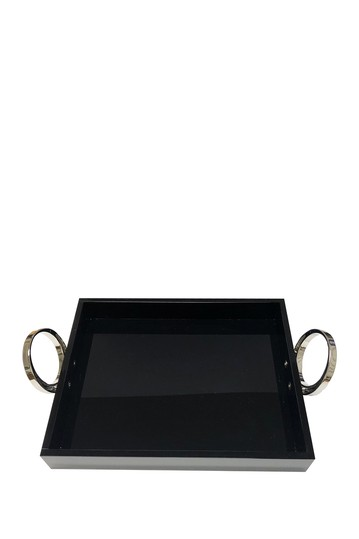 Small Black Tray With Silver Ring R16 HOME