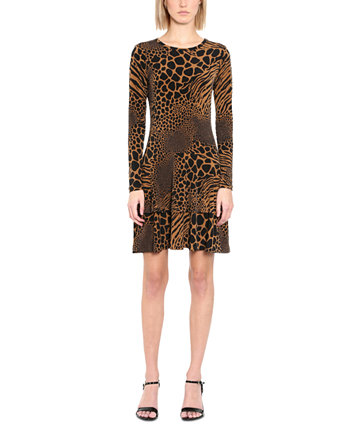 Plus Size Printed Tiered-Hem A-Line Dress Michael Kors