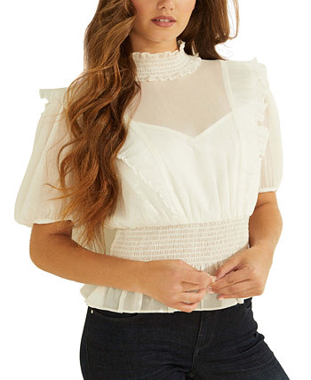 Kandence Ruffled Smocked Top GUESS