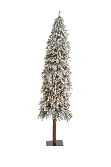7ft. Flocked Grand Alpine Artificial Christmas Tree with 400 Clear Lights on Natural Trunk NEARLY NATURAL