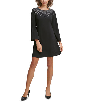 Petite Embellished-Neck A-Line Dress Calvin Klein