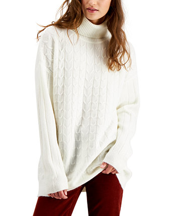Juniors' Cable-Knit Turtleneck Tunic Sweater Hooked Up by IOT