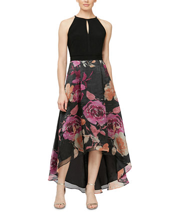 Floral-Print High-Low Fit & Flare Dress SL Fashions