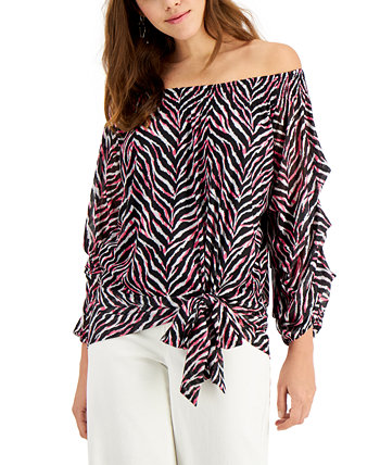 Tie-Front Off-The-Shoulder Blouse Willow Drive