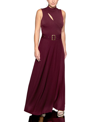 Mock-Neck Belted Maxi Dress Christian Siriano New York