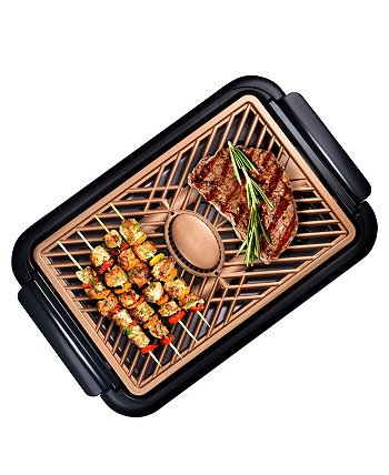 Nonstick Ti-Ceramic Electric Smoke-less Indoor Grill with Smoke Extraction Fan Gotham Steel